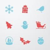 Simboli di Natale 9 icone messe Fotografia Stock Libera da Diritti