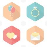 Simboli di nozze, icone Fotografia Stock Libera da Diritti