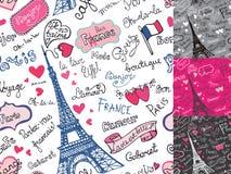 Simboli di Parigi, segnanti modello con lettere senza cuciture Mano Immagine Stock Libera da Diritti