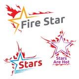Simboli di progettazione delle stelle brucianti Immagini Stock Libere da Diritti