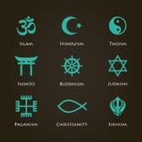 Simboli di religione del mondo Fotografie Stock Libere da Diritti