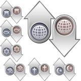 Simboli di religione del mondo sopra su e giù le frecce Fotografie Stock Libere da Diritti