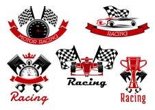 Simboli di sport di automobilismo con le macchine da corsa royalty illustrazione gratis