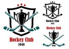 Simboli di sport ed emblemi del hockey su ghiaccio Immagini Stock