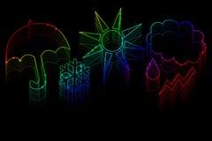 Simboli di tempo al neon Immagine Stock Libera da Diritti