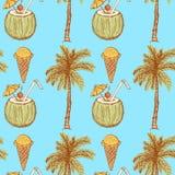 Simboli di vacanza di schizzo nello stile d'annata Immagini Stock Libere da Diritti