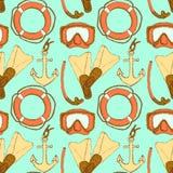 Simboli di vacanza di schizzo nello stile d'annata Immagine Stock