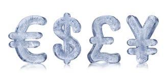 Simboli di valuta del ghiaccio Fotografia Stock Libera da Diritti