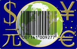Simboli di valuta del globo del mondo Immagini Stock
