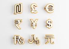 Simboli di valuta dell'oro Immagini Stock Libere da Diritti