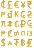 Simboli di valuta dell'oro Fotografia Stock Libera da Diritti