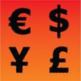 Simboli di valuta di semitono di vettore Immagine Stock Libera da Diritti