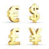 Simboli di valuta dorati Fotografie Stock Libere da Diritti