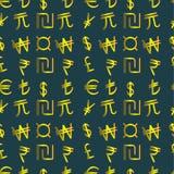Simboli di valuta dorati del mondo Fotografie Stock Libere da Diritti