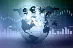 Simboli di valuta su terra Fotografia Stock