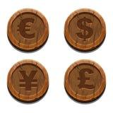 Simboli di valute principali, monete di legno Immagine Stock