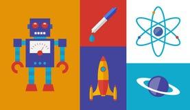 Simboli di vettore di scienza di Rocket Fotografie Stock Libere da Diritti