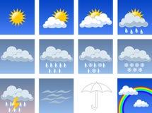 Simboli di Wheather Immagini Stock