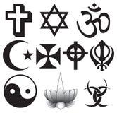 Simboli differenti di religioni Fotografie Stock
