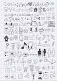 Simboli disegnati a mano Fotografia Stock