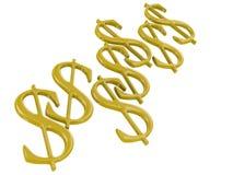 Simboli dorati del dollaro Fotografia Stock Libera da Diritti
