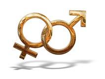 Simboli dorati del sesso 3D di genere del reticolo isolati Fotografie Stock Libere da Diritti