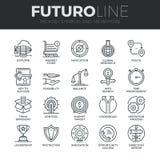 Simboli e linea icone di Futuro delle metafore messe illustrazione vettoriale