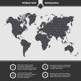 Simboli e tipografia della mappa di mondo del nero di Infographic Immagini Stock