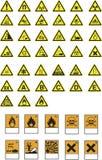 Simboli ed avvertimenti di rischio Fotografia Stock Libera da Diritti