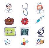 Simboli ed icone dell'ospedale e medici Fotografia Stock