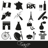 Simboli ed icone di tema del paese della Francia messi Immagini Stock
