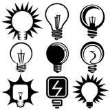 Simboli ed icone elettrici della lampadina Fotografie Stock Libere da Diritti
