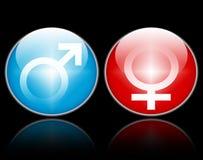 Simboli femminili maschii di genere Fotografie Stock