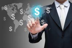 Simboli finanziari di tocco della mano dell'uomo d'affari su fondo grigio Fotografie Stock Libere da Diritti