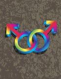 Simboli gay maschii di genere 3D che collegano Illustrati Fotografie Stock Libere da Diritti