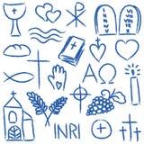 Simboli gessosi religiosi Fotografia Stock Libera da Diritti