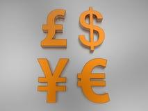 Simboli internazionali dei soldi illustrazione vettoriale