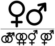 Simboli maschii e femminili. Fotografia Stock Libera da Diritti
