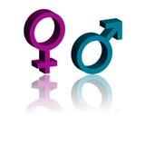 simboli maschii e femminili di 3d. Fotografie Stock Libere da Diritti