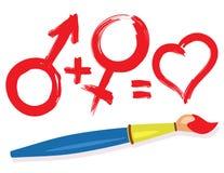 Simboli maschii femminili e pennello del cuore Immagine Stock