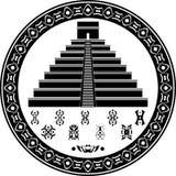 Simboli Mayan di fantasia e della piramide Fotografia Stock Libera da Diritti