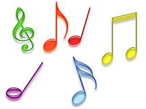 Simboli musicali colorati Fotografia Stock Libera da Diritti