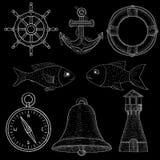 Simboli nautici Gesso bianco sulla lavagna illustrazione di stock