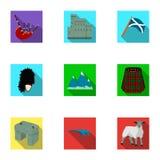 Simboli nazionali della Scozia Attrazioni scozzesi Icona del paese della Scozia nella raccolta dell'insieme sul simbolo piano di  Immagini Stock