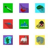 Simboli nazionali della Scozia Attrazioni scozzesi Icona del paese della Scozia nella raccolta dell'insieme sul simbolo piano di  Fotografie Stock