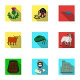 Simboli nazionali della Scozia Attrazioni scozzesi Icona del paese della Scozia nella raccolta dell'insieme sul simbolo piano di  Fotografia Stock