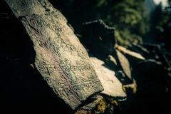 Simboli nepalesi scolpiti sulle pietre Fotografia Stock Libera da Diritti