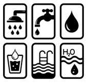 Simboli neri di concetto dell'acqua Immagini Stock