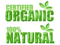 Simboli organici e naturali certificati Immagine Stock