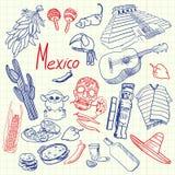 Simboli Pen Drawn Doodles Colorful Collection del Messico illustrazione di stock